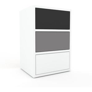 Table de chevet - Blanc, contemporaine, table de nuit, avec tiroir Blanc - 41 x 61 x 35 cm, modulable