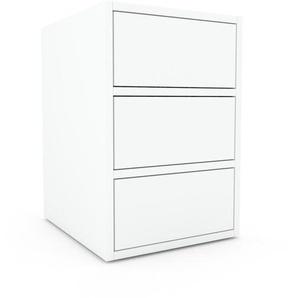 Table de chevet - Blanc, contemporaine, table de nuit, avec tiroir Blanc - 41 x 61 x 47 cm, modulable