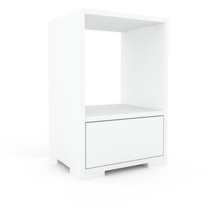 Table de chevet - Blanc, contemporaine, table de nuit, avec tiroir Blanc - 41 x 62 x 35 cm, modulable