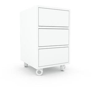 Table de chevet - Blanc, contemporaine, table de nuit, avec tiroir Blanc - 41 x 68 x 47 cm, modulable