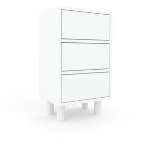 Table de chevet - Blanc, contemporaine, table de nuit, avec tiroir Blanc - 41 x 72 x 35 cm, modulable
