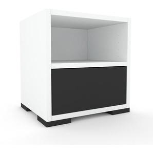 Table de chevet - Blanc, contemporaine, table de nuit, avec tiroir Anthracite - 41 x 43 x 35 cm, modulable