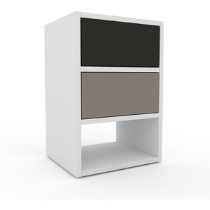 Table de chevet - Blanc, contemporaine, table de nuit, avec tiroir Gris - 41 x 61 x 35 cm, modulable