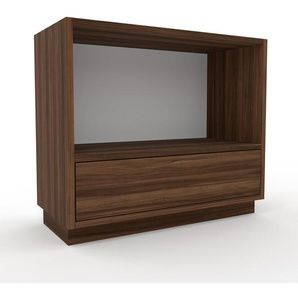 Table de chevet - Noyer, contemporaine, table de nuit, avec tiroir Noyer - 77 x 66 x 35 cm, modulable