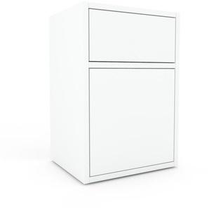 Table de chevet - Blanc, moderne, table de nuit, avec porte Blancs et tiroir Blanc - 41 x 61 x 35 cm