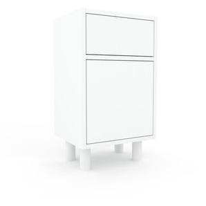 Table de chevet - Blanc, moderne, table de nuit, avec porte Blancs et tiroir Blanc - 41 x 72 x 35 cm