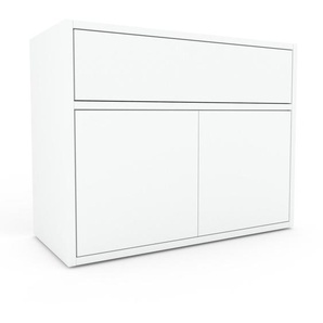 Table de chevet - Blanc, moderne, table de nuit, avec porte Blancs et tiroir Blanc - 77 x 61 x 35 cm