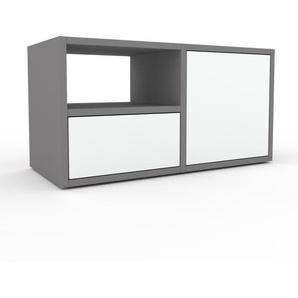 Table de chevet - Gris, moderne, table de nuit, avec porte Blancs et tiroir Blanc - 79 x 41 x 35 cm