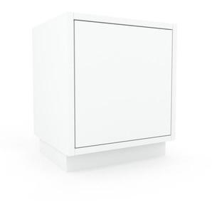 Table de chevet - Blanc, pièce de caractère, table de nuit, avec porte Blanc - 41 x 47 x 35 cm, combinable
