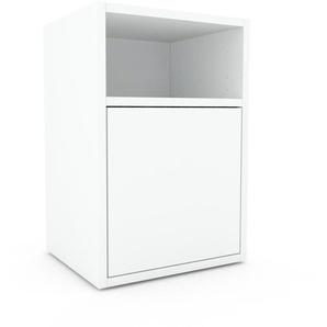 Table de chevet - Blanc, pièce de caractère, table de nuit, avec porte Blanc - 41 x 61 x 35 cm, combinable