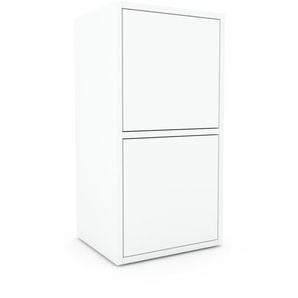 Table de chevet - Blanc, pièce de caractère, table de nuit, avec porte Blanc - 41 x 80 x 35 cm, combinable