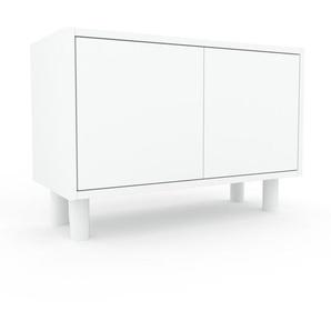 Table de chevet - Blanc, pièce de caractère, table de nuit, avec porte Blanc - 77 x 53 x 35 cm, combinable