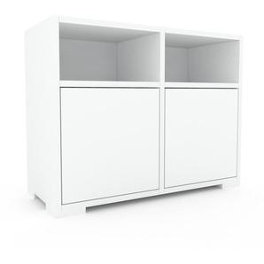 Table de chevet - Blanc, pièce de caractère, table de nuit, avec porte Blanc - 79 x 62 x 35 cm, combinable