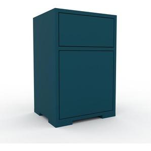 Table de chevet - Bleu, moderne, table de nuit, avec porte Bleus et tiroir Bleu - 41 x 62 x 35 cm