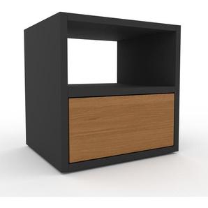 Table de chevet - Anthracite, contemporaine, table de nuit, avec tiroir Chêne - 41 x 41 x 35 cm, modulable