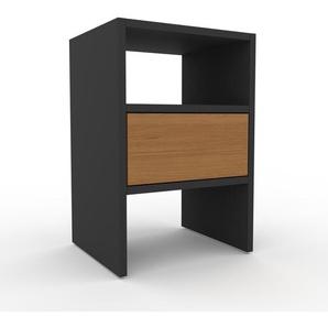 Table de chevet - Anthracite, contemporaine, table de nuit, avec tiroir Chêne - 41 x 61 x 35 cm, modulable