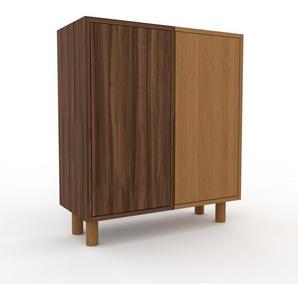 Table de chevet - Noyer, pièce de caractère, table de nuit, avec porte Noyer - 79 x 91 x 35 cm, combinable