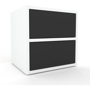 Table de chevet - Blanc, contemporaine, table de nuit, avec tiroir Anthracite - 41 x 41 x 35 cm, modulable