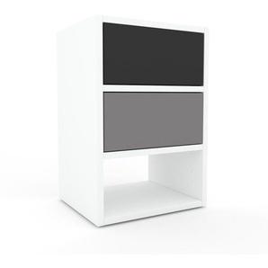 Table de chevet - Blanc, contemporaine, table de nuit, avec tiroir Gris - 41 x 61 x 35 cm, modulable