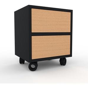 Table de chevet - Noir, contemporaine, table de nuit, avec tiroir Hêtre - 41 x 49 x 35 cm, modulable