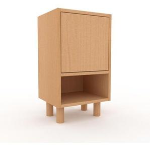 Table de chevet - Hêtre, pièce de caractère, table de nuit, avec porte Hêtre - 41 x 72 x 35 cm, combinable