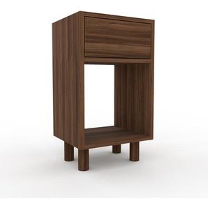 Table de chevet - Noyer, contemporaine, table de nuit, avec tiroir Noyer - 41 x 72 x 35 cm, modulable