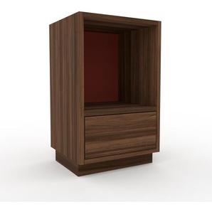 Table de chevet - Noyer, contemporaine, table de nuit, avec tiroir Noyer - 41 x 66 x 35 cm, modulable