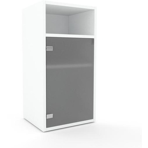 Table de chevet - Verre clair dépoli, pièce de caractère, table de nuit, avec porte Verre clair dépoli - 41 x 80 x 35 cm, combinable