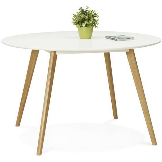 Table de cuisine ronde AMY blanche style scandinave - Ø 120 cm
