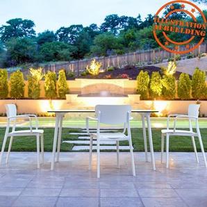 Table de jardin design LAGOON blanche intérieur / extérieur  - 140x80 cm