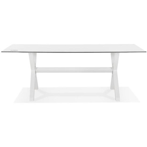 Table de jardin design PORTO blanche avec pied en X