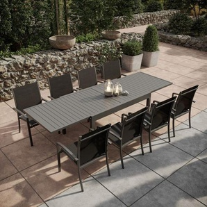 Table de jardin extensible aluminium 135/270cm + 8 fauteuils empilables textil�ne Gris Anthracite - ANDRA - AVRIL PARIS