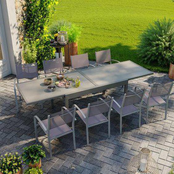 Table de jardin extensible aluminium 270cm + 8 fauteuils empilables textilène gris taupe - LIO 8