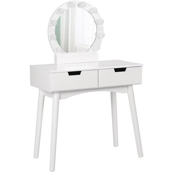 Table de Maquillage, Coiffeuse, 2 tiroirs, miroir , Blanc,avec led 131*80*40cm - JEOBEST