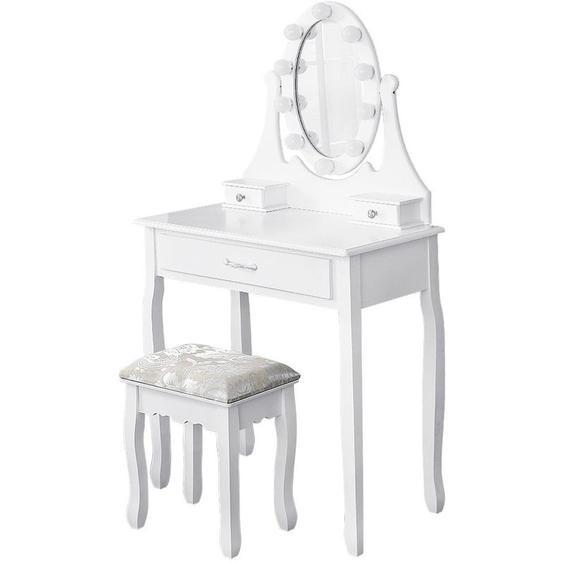 ® Table de Maquillage Coiffeuse avec Miroir Lumineux 3 Tiroirs et 1 Tabouret 75 x 40 x 139 CM Blanche - Oobest