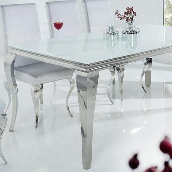 Table de salle à manger baroque blanche - Zita - Longueur 200 cm