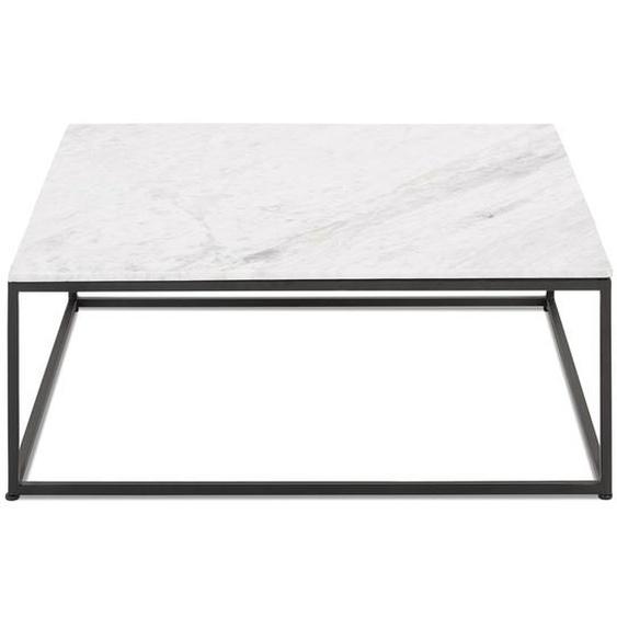 Table de salon carrée PATIO en marbre blanc et métal noir