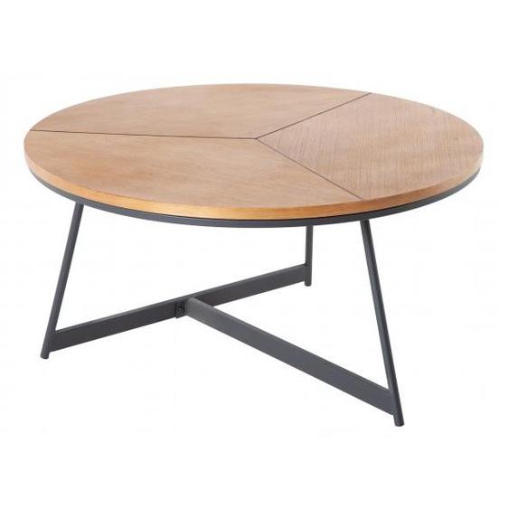 Table de salon ronde bois de chêne et métal - Devon
