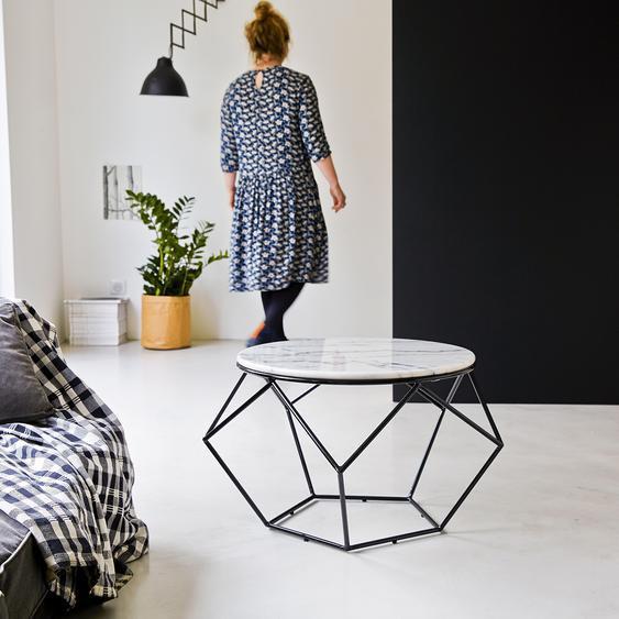 Table de salon ronde en marbre blanc et métal