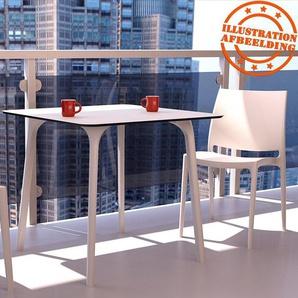 Table de terrasse carrée LAGOON blanche intérieur / extérieur - 80x80 cm