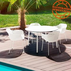 Table de terrasse ronde LAGOON blanche intérieur / extérieur  - Ø 120 cm