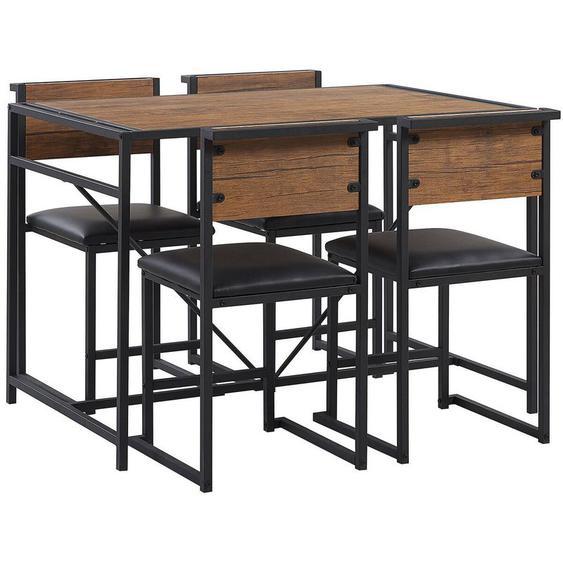 Ensemble table de salle à manger et 4 chaises effet bois foncé BURTON - BELIANI