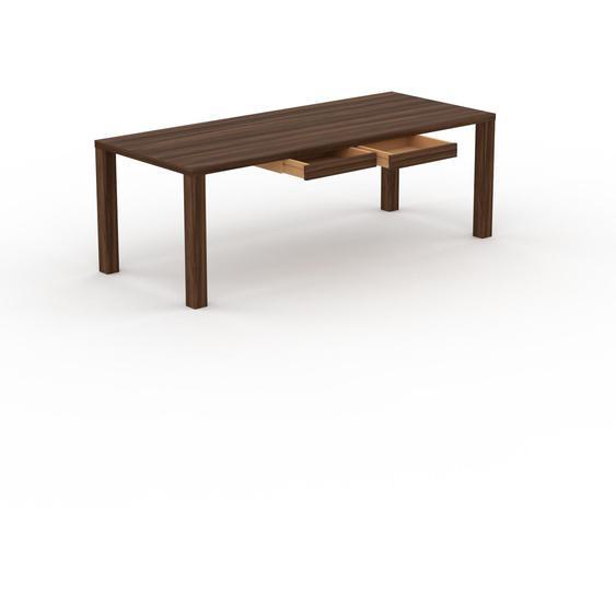 Table - Noyer, contemporaine, haute qualité, avec tiroir Noyer - 220 x 76 x 90 cm, personnalisable