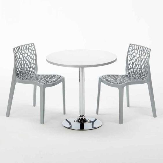 Table Ronde Blanche 70x70cm Avec 2 Chaises Colorées Grand Soleil Set Intérieur Bar Café ICE LONG ISLAND