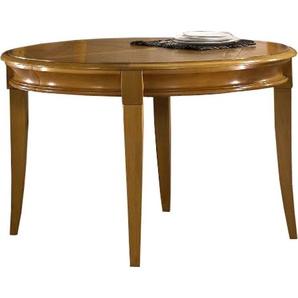 Table ronde chêne pieds sabre 2 allonges