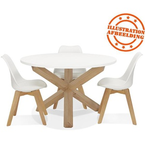 Table ronde design MARVEL blanche et chêne massif