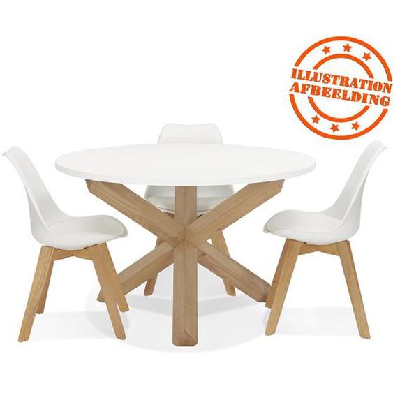 Table ronde design MARVEL blanche et chêne massif - Ø 120 cm