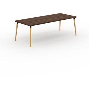 Table scandinave - Noyer, style nordique, plateau de table épuré - 220 x 75 x 90 cm, personnalisable