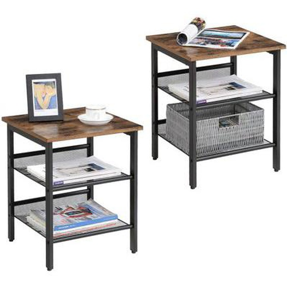 Tables dappoint STUART Lot de 2, Tables de Chevet, Style Industriel, avec étagères grillagées réglable, pour Salon, Chambre, Co