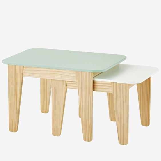 Tables gigogne gris vert/bois + blanc/bois